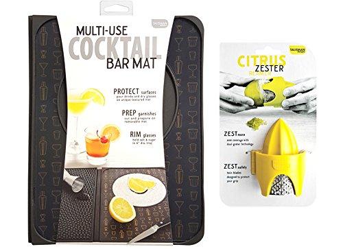 Talisman Designs Multi-Use Cocktail Bar Mat with Citrus Zester Reamer