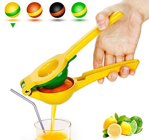 Yimobra Manual Lemon Lime Squeezer Metal Hand Citrus Juicer Press for Lemons No Pulp or Seeds Dishwasher Safe Premium Quality Juicing Kitchen Tool Presented A Manual Juicer Stand Yellow