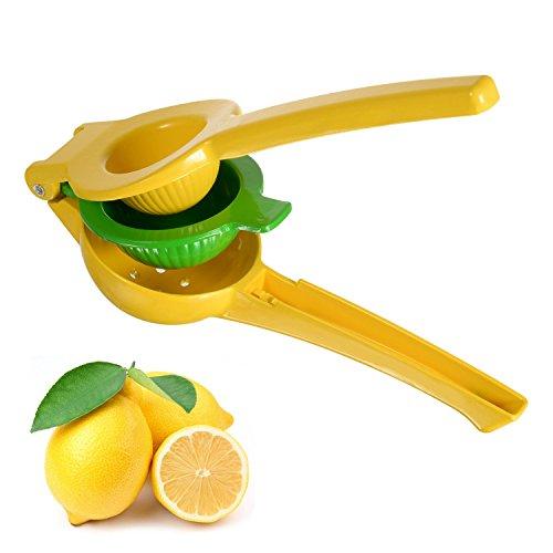 Yuntong Premium Aluminum Lemon Lime Orange Manual Squeezer - 2 Bowls Built In 1 Hand Held Fruit Juicer  Yellow and Green