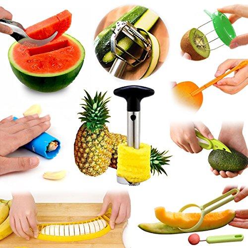 Fruit Slicer Peeler All-In-One Set Pineapple Corer Orange Citrus Lemon Garlic Kiwi Cantaloupe Vegetable Peeler Avocado Watermelon Banana Slicer Kitchen Tools Value Pack