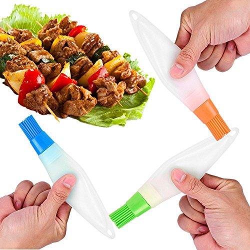 ShareJ Silicone Grill Basting Brush with Liquid Oil Pen for BBQ Home Kitchen Utensil Food Grade Baking Brush Heat Resistant Random