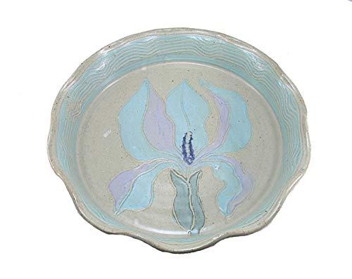 Pottery Iris Garden Flower Pie Plate Stoneware Serving Baking Dish Quiche Tray