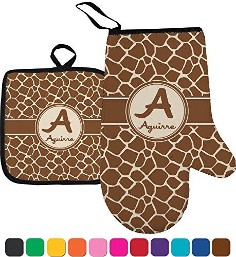 Giraffe Print Oven Mitt Pot Holder Personalized
