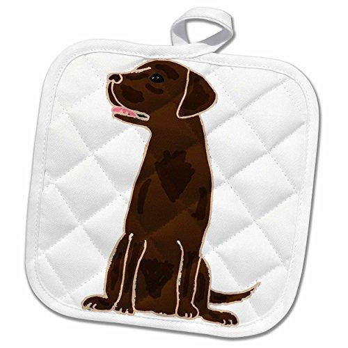 3D Rose Cute Artistic Chocolate Labrador Retriever Puppy Dog Pot Holder 8 x 8