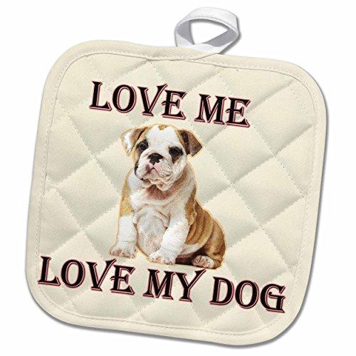 3D Rose Love My Dog Bulldog Pot Holder 8 x 8