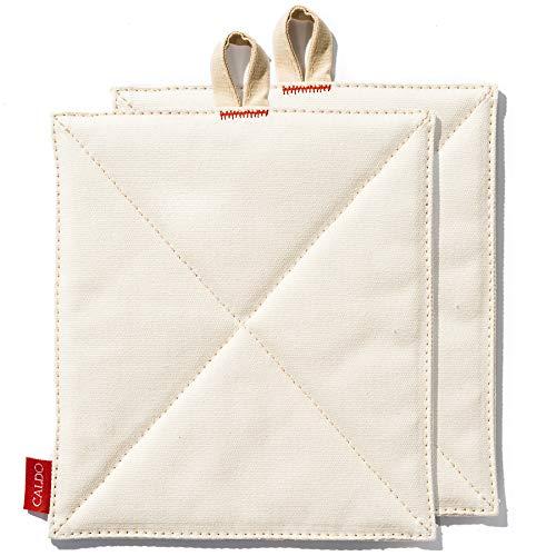 Caldo Canvas Pot Holders - Insulated 100 Cotton Canvas 2-Pack 7 x 9 Ecru