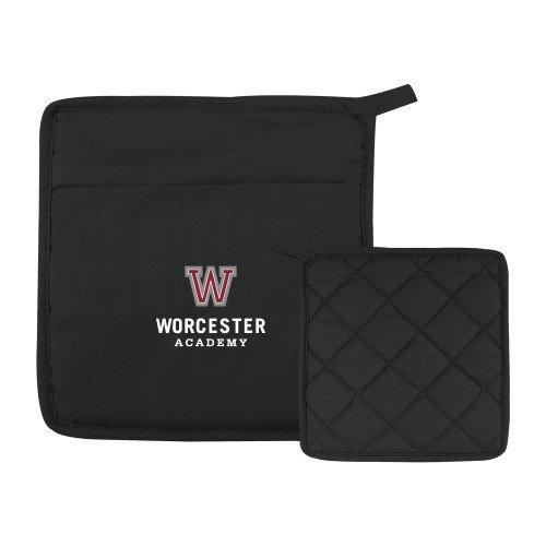 CollegeFanGear Worcester Academy Quilted Canvas Black Pot Holder Worcester Academy