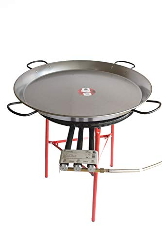 Paella Pan Polished Steel  Paella Gas Burner and Stand Set - Complete Paella Kit for up to 40 Servings