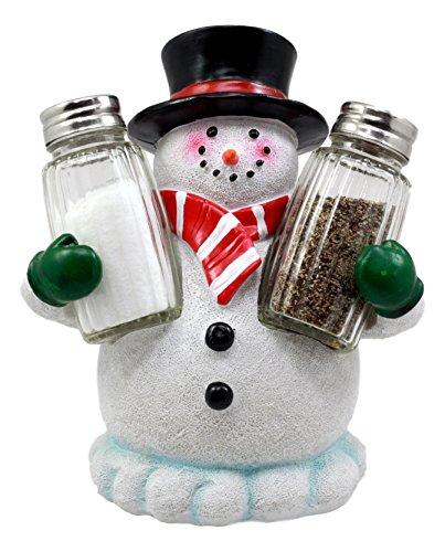 Atlantic Collectibles Christmas Winter Snowman Decorative Glass Salt Pepper Shakers Holder Resin Figurine