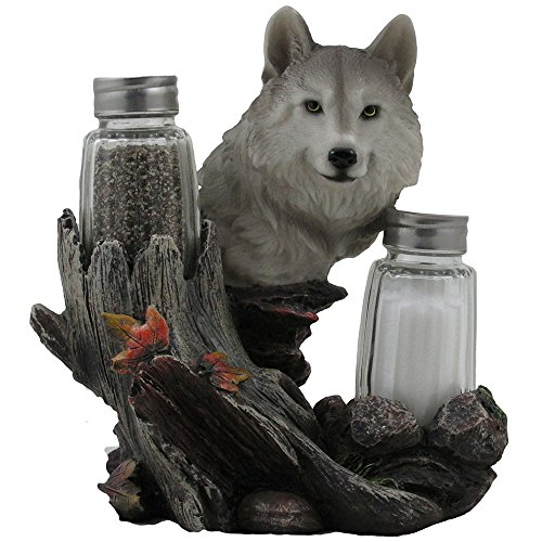 Decorative Gray Wolf Glass Salt and Pepper Shaker Set with Holder Figurine for Cabin and Rustic Lodge Restaurant Bar or Kitchen Table Decor Wildlife Animal Collectibles Wolves Sculptures As Gifts