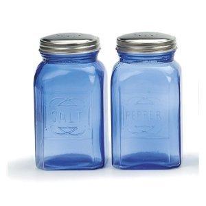 RSVP Retro Blue Glass Salt Pepper Shakers