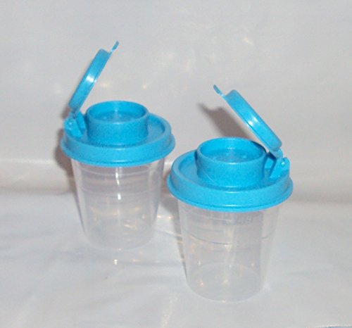 Tupperware Mini Salt Pepper Shakers 2oz Clear with Teal Blue Tops