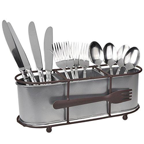 Brown Metal Silverware Organizer  Tabletop Utensil Storage Rack  Flatware Caddy Basket w Fork Ornament