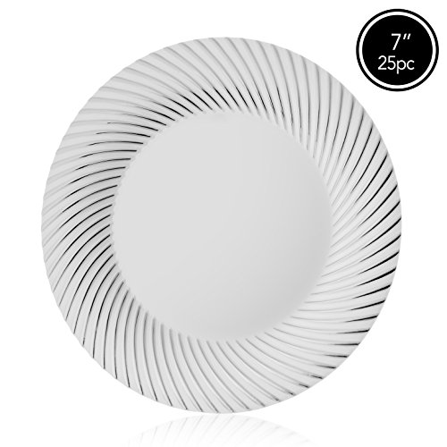 Elite Selection Pack Of 25 White Salad Plates With Silver Swirl 7-Inch