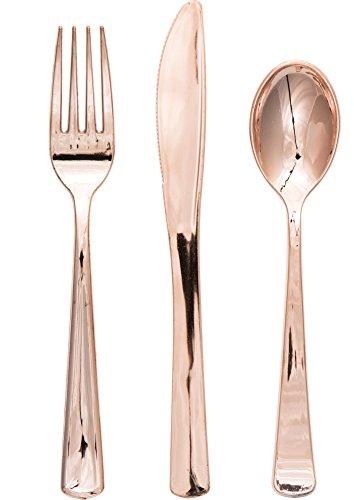 Creative Converting 315134 Metallic Plastic Assorted Cutlery Rose Gold