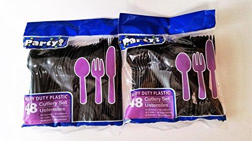 Heavy Duty Plastic Cutlery Set in Black - 32 Spoons 32 Forks 32 Knives