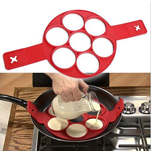 Alishebuy 1Pc Pancake Molds Ring Fried Egg Mold Reusable Silicone Non Stick Pancake Maker Egg Baking Tool-Round-7 holes
