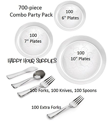 Party Combo Pack-700 Pieces Premium Plastic CLEAR Plates and Silver Cutlery wBonus FDL Picks - SERVES 100 - INCLUDES 10 Plates 7 Plates 6 Plates Forks Double Knives Spoons