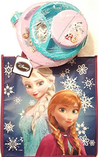 Disney Frozen Child Dishware Five Piece Plastic Set with Frozen Anna and Elsa Re-Usable Tote Bag Bundle 6