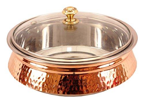 IndianArtVilla 40 X 92 Steel Copper Induction Handi with Glass Lid 2000 ML - Serving Dishes Chicken Briyani Vegetable Home Hotel Restaurant Tableware Dishware