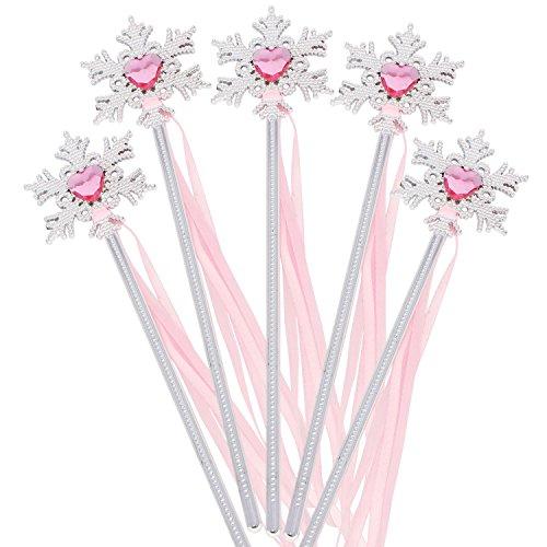 XiangGuanQianYing Princess Party Supplies Princess Wands Snowflake Wand with Ribbon Silver Plating Silver Pink 10 Pack