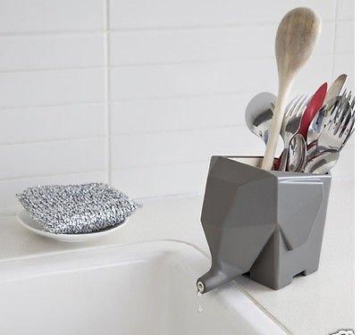 Gray Jumbo Cutlery Drainer Elephant Kitchen Bathroom Dish Holder Rack By Peleg Design