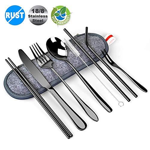 Travel UtensilsBEQOOL 10 PCS Black Silverware Set 188 Stainless Steel Flatware Set Travel Camping Cutlery Set Reusable Utensils with case Include Spoon Fork KnifeStrawsChopsticksRed Hand Strap