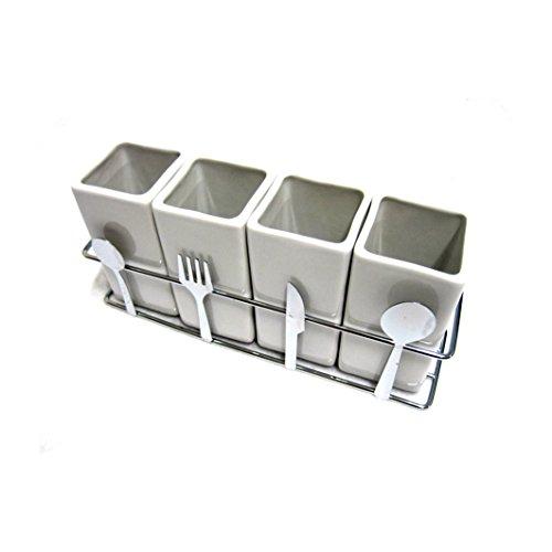 4 Compartments Ceramic Cutlery Organizer Holder Fork Spoon Knife Storage Box