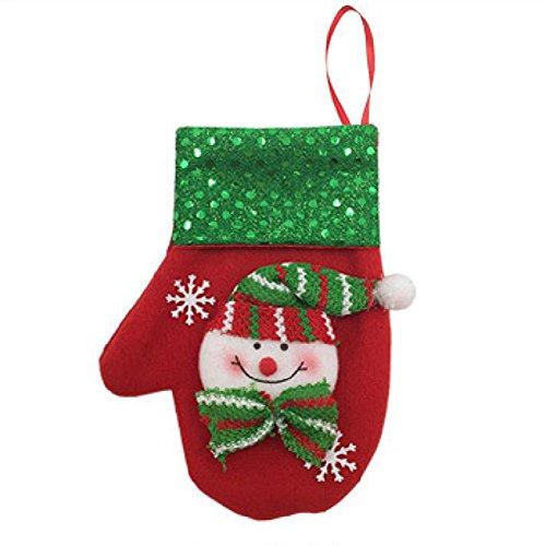 Lanlan 1PCS Cute Christmas Glove Shape Holder Candy Bag Kitchen Cutlery Storage Tableware Holder Hanging Decor Snowman