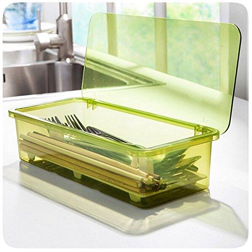 Lautechco HD Drain Dust Cutlery Storage Box Simple And Stylish Plastic Chopsticks Box Chopsticks Cage Kitchen Storage Products Green