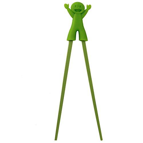 Baby Children Beginner Learning Traning Helper Chopsticks Flatware Right Handed with Lovely Silicone Mashimaro Rabbit green-1