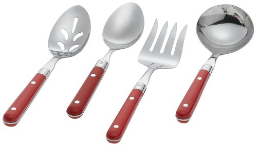 Ginkgo Le Prix 4-Piece Stainless Steel Hostess Serving Set Milano Red