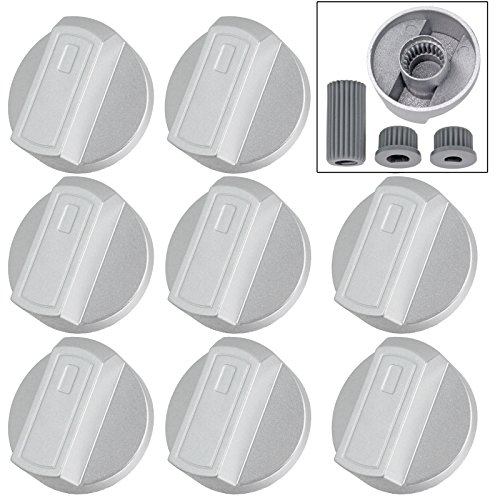 Spares2go Hob Control Knob Switch for Electrolux Oven Cooker Pack of 8 Silver