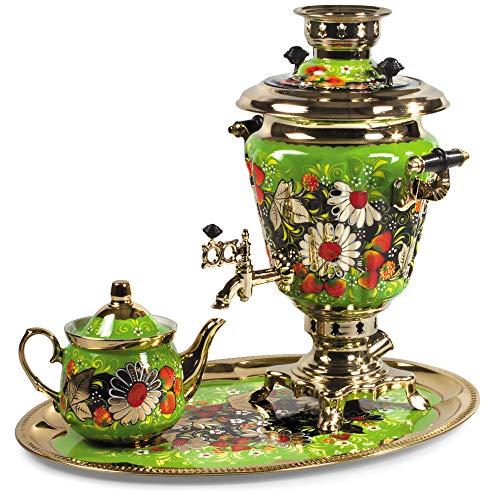 Daisies Electric Samovar Set with Tray Teapot Russian Samovar