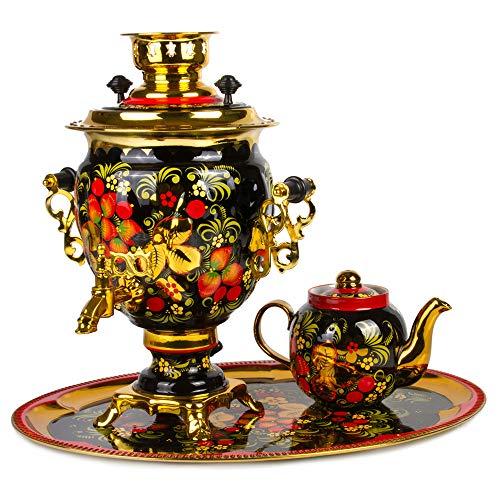 Khokhloma Electric Samovar Set with Tray Teapot Russian Samovar Tea Maker