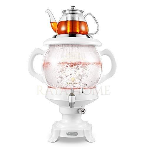 The Original -RAYA Glass Electric Samovar Modern Tea Maker White  45 Ltr155 oz  Persian Samovar Russian Samovar  Turkish Samovar
