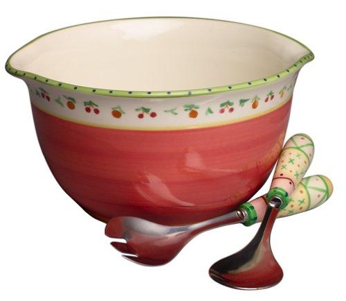 Pfaltzgraff Pistoulet le Saladier Large Salad Bowl with Servers