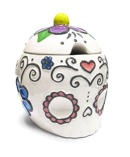 Ceramic Sugar Skull Sugar Bowl with Hearts Flowers-45