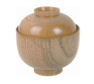 1 X Wooden Rice Miso Soup Bowl with Lid 45-35