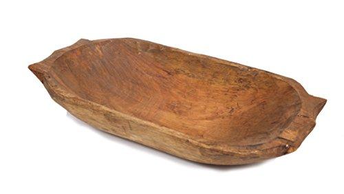 Deep Wooden Dough Bowl w Handles-Batea