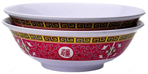 Melamine Oriental Pho Noodle Soup Bowl 52 Ounce Longevity Design Set of 2