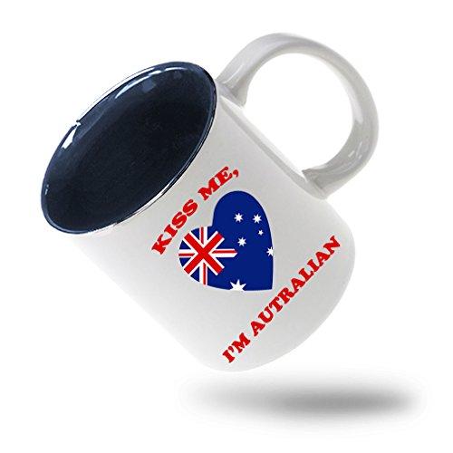 Style In Print Kiss Me I Am Australian Coffee Tea Ceramic Inner Color Mug WhiteBlue