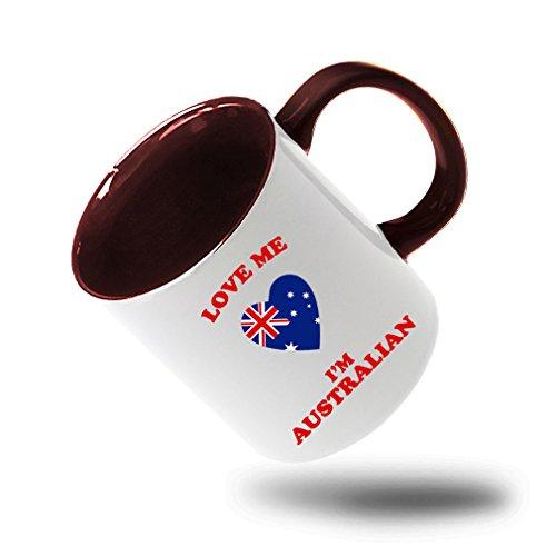 Style In Print Love Me IM Australian Coffee Tea Colored Inside And Handle Mug WhiteRed