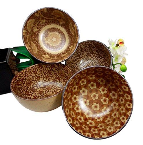 Japanese Floral Blossom Sepia Brown Color Food Safe 5 Diameter Decorative Bowl Set of 4 Ceramic