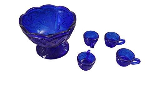 4PC Glass Floral Punch Bowl Set Blue