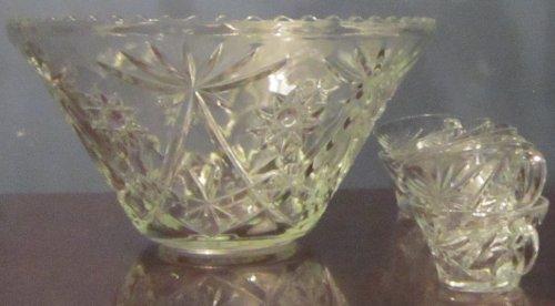 Vintage Glass Punch Bowl Set