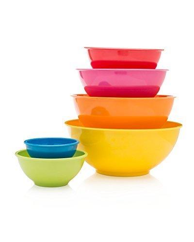 Francois et Mimi 6 Piece Colorful 100 Melamine Mixing Bowls Mixing Bowl Set Classsic