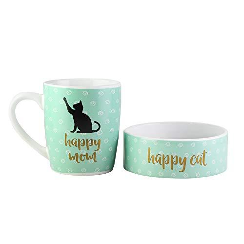 American Atelier 1562915-2MB Happy Mom Pet Mug Bowl Set-Ceramic Coffee Mug Cat Bowl-Hostess or Host Gift Idea for Any Special Occasion Housewarming or Birthday Blue 15 Oz