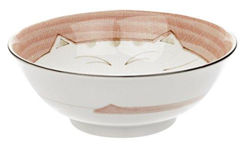 JapanBargain 2481 Japanese Porcelain Soup Bowl for Dinner Lunch Rice Poke Donburi Udon Ramen Noodle Pasta Cereal 36 oz Maneki Neko Lucky Cat Pattern for Cat Lovers Made in Japan 75-inch Pink