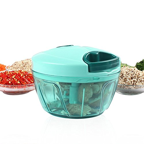 Mini Manual Food Processor Vegetable Chopper Mixer Blender for Garlic Onion Herbs with 3 Sharp Blades for Salsa Salad Pesto Coleslaw Blue